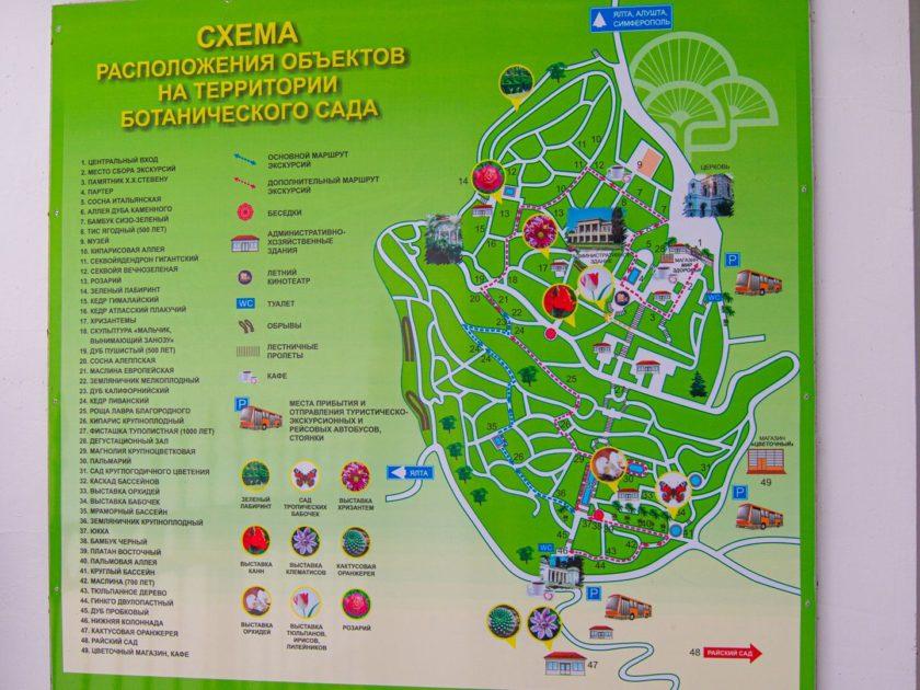 схема объектов на территории никитского ботанического сада